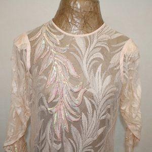 Vintage Peach Chiffon and Lace Gorgeous Dress